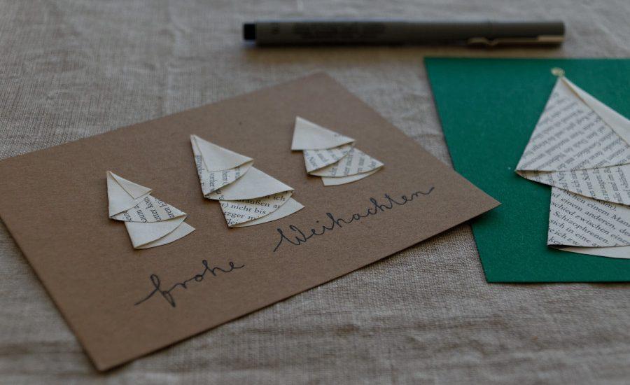 Weihnachtskarten Origami.Diy Weihnachtskarten Gestalten Ein Kleines Tutorial Zweigefädelt